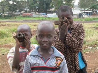 Children in Kibera have started modelling cameras frommud